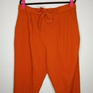 ASOS Paper Bag Waist Cropped Cuffed Pants